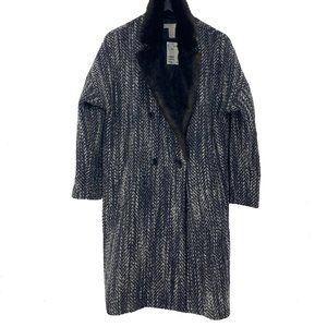 H&M Faux Fur Wool Blend Double Breasted Coat NWT